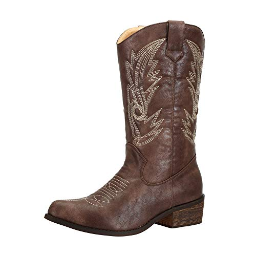 SheSole Women's Wide Calf Western Cowgirl Cowboy Boots Brown Size 9