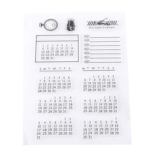 1 vel transparante siliconen stempel afdichting, kalender patroon transparante stempels voor Scrapbooking fotoalbum decoratieve