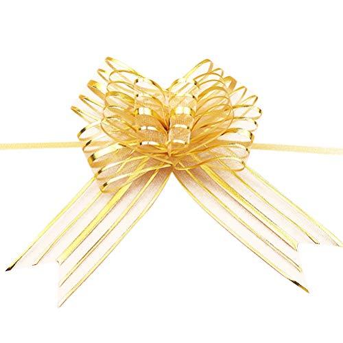 Healifty 10pcs tirare arco nastro tirare archi stringa archi di decorazione regalo di nozze auto d'oro