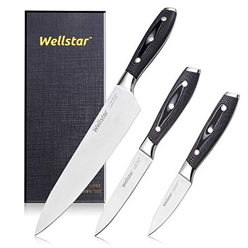 Kitchen Knife Set 3 Piece WELLSTAR, Razor Sharp German Steel Forged Blade with Professional G10 Handle, Chef Utility Paring Knife Well Balanced Cutlery Set for Cutting Chopping and Dicing - Gift Box