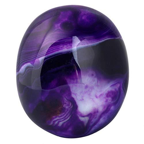 rockcloud Irregular Polished Purple Agate Palm Stones Worry Stones Pebble Healing Crystal with Velvet Bag