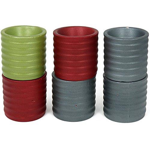 COM-FOUR® [!!! B-WARE !!!] 6x keramische theelichthouders in een set, in verschillende kleuren (selectie varieert!) (06 stuks - theelichthouder)