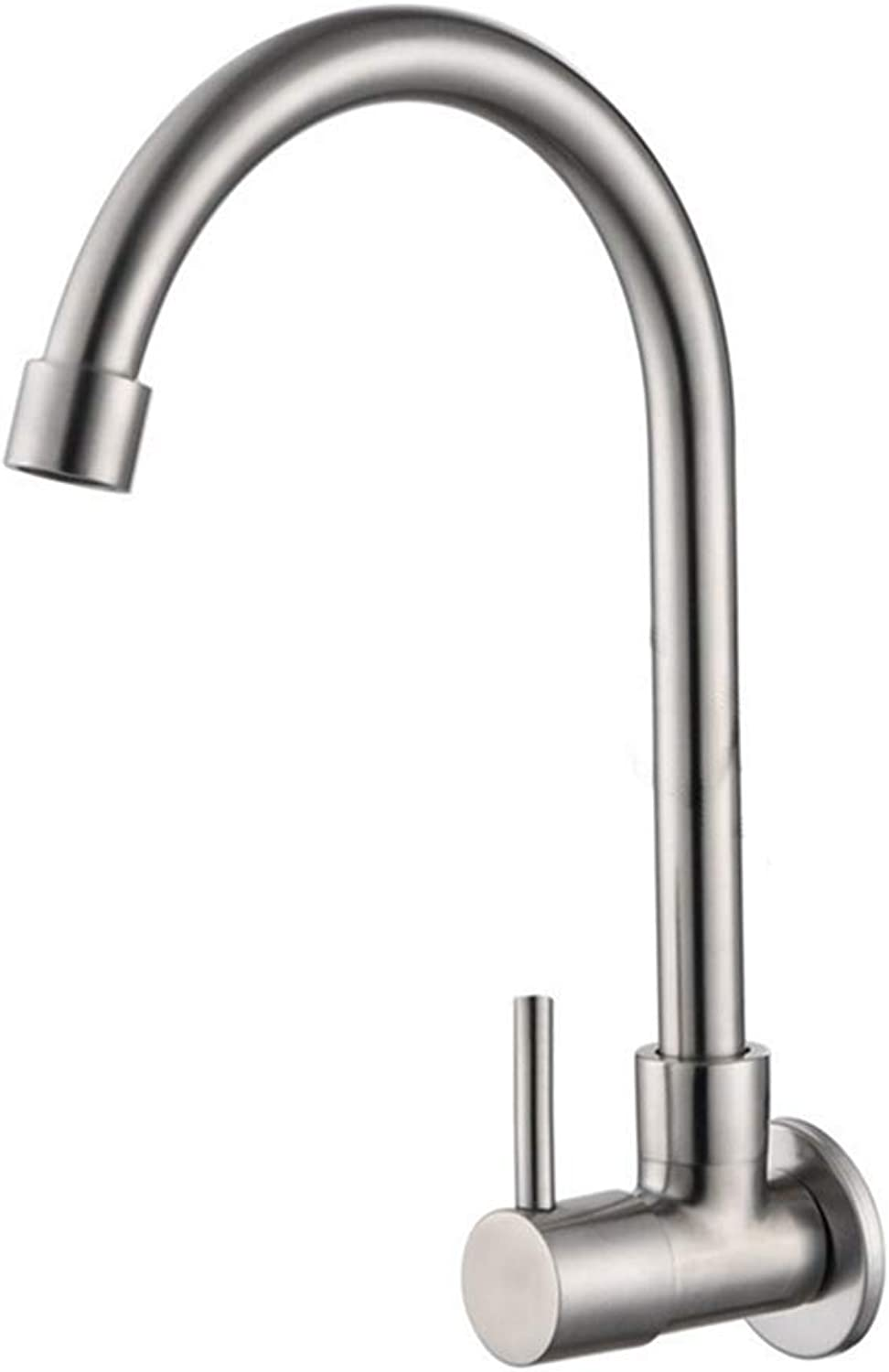 FZHLR 304 Stainless Steel Kitchen Faucet Unleaded Single Cold Water Taps Concealed to Wall Faucet Swing Control