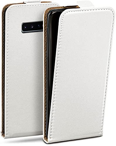 moex Flip Hülle für Samsung Galaxy S10 - Hülle klappbar, 360 Grad Klapphülle aus Vegan Leder, Handytasche mit vertikaler Klappe, magnetisch - Weiß
