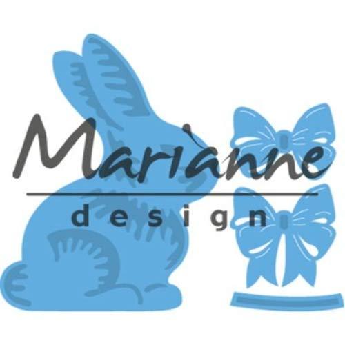 Marianne Design Creatables, Coniglio di Pasqua con Fiocco, per Il Taglio e l'Embossing di Carta per Progetti Creativi, Metallo, Blu Chiaro, 20 x 9 x 0,5 cm