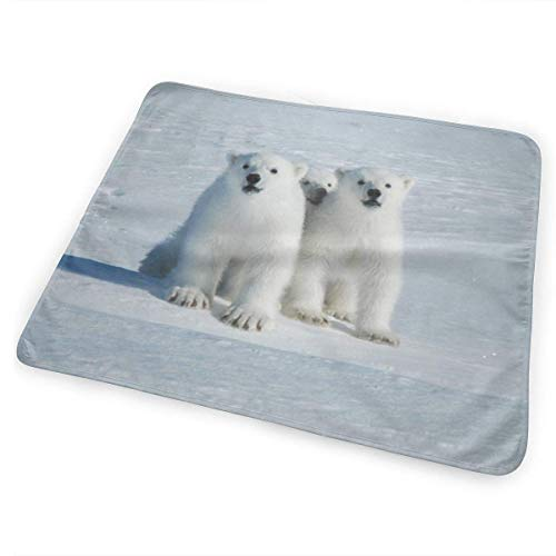 Polar Bear On Spitsbergen Changing Pad Waterproof Portable Large Baby Changing Mat to Change Diaper Mattress Pad Cover for Boy and Girl Newborn(25.5'x31.5')
