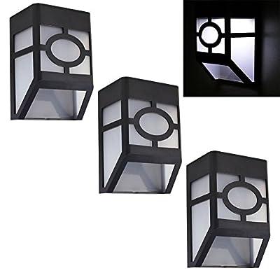 DE-Spark Waterproof Wireless Solar Stair Lamp LED Plastic Wall Porch Lights Sconces for Garden, Patio, Yard, Home, Deck, Indoor, Outdoor