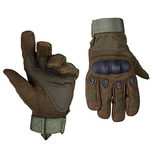 ThreeH Guantes Duros de Nudillos llenos de Dedos para los Guantes tácticos de la Motocicleta de Paintball de Airsoft GL05L,Green