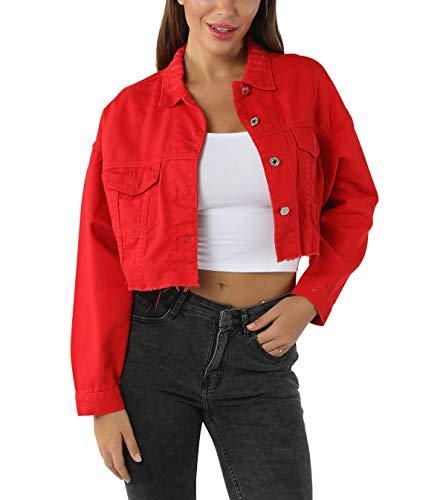 YoungSoul Damen Kurze Oversize Jeansjacke mit Rissen und ausgefranstem Saum, Rot, EU S