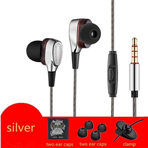 Heavy subwoofer headphones double-ring game music wired in-ear headphones Silver