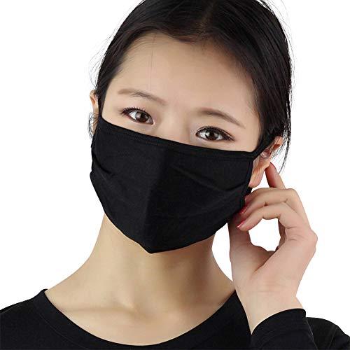 Unisex Fashion Anti-Staub-Maske, wiederverwendbar, waschbar, 2-lagig, Seide, Gesichtsmaske (Schwarz(3 Stück))
