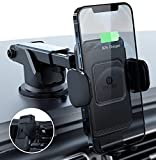 ZeeHoo Wireless Car Charger,10W Qi Fast Charging Auto-Clamping Car Mount,Windshield Dash Air Vent Phone Holder Compatible iPhone 13/12/Mini/11/11 Pro/XS/8,Samsung S20/S10/S9/S8/Note10/9(Black)