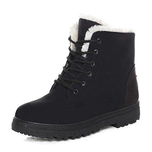 QHGao dames sneeuwschoenen, trekkingschoenen, winterlaarzen, wandelschoenen voor outdoor, suède, laarzen met platte hak met veters, zwart 39