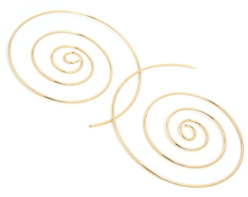 2LIVEfor Ohrringe Creolen Silber Gold Groß 50 mm Ohrhänger Design Spirale Schnecke Hoop Creole Rund Ethno Style (Gold)
