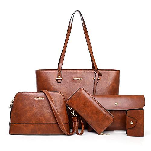 AlwaySky Handtaschen-Set für Damen 5er Pack Tote Geldbörse Handtaschen Set PU-Leder Schulranzen Umhängetasche Brieftasche Kartenhalter Taschenset, Braun