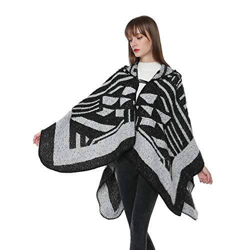 AHUIOPL Frauen Vintage mit Kapuze Kaschmir Ponchos und Capes Soft Wrap Cardigan Winter Schal mit Tasten mit Kapuze Mantel Mantel