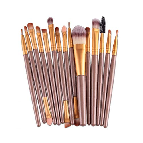 Make Up Brushes Natural Hair Professional Makeup Brush Set Travel Makeup Brush Kit Foundation Brush Eye Shadow Brushes Cosmetic Brushes, 15 Pcs