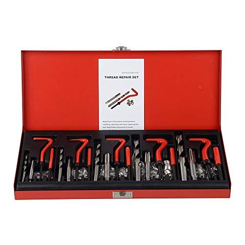 KKmoon 131 pezzi Kit Riparazione Filetti, Set di Riparazione di Filettature M5 M6 M8 M10 M12, Kit di Riparazione Elicoidale per Rifilatura Filettatura Spogliata Manicotto Inserti Filettati