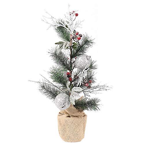 NLRHH Weihnachtsbaum Mini Verschlüsselung Simulation Silber Obst Flocking Weihnachtsbaum Ons Weihnachtstag Zimmer Desktop Requisiten Ornamente 60cm Grüne DIY Peng