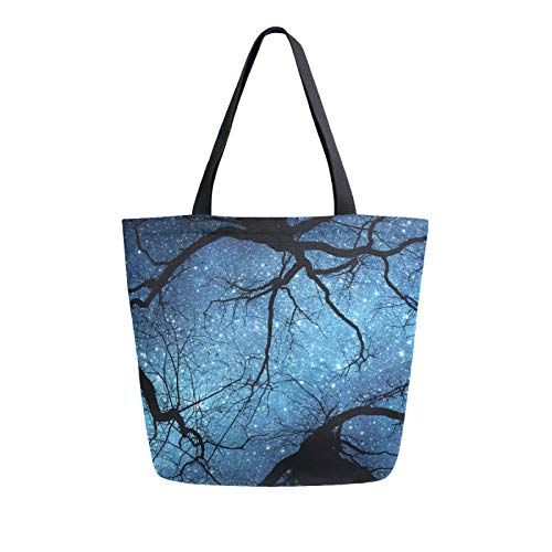 iRoad Women Canvas Bags Starry Night Tree Print Shopping Purse Handbag Reusable Grocery Bags Large Canvas Bag Tote for Travel School Work