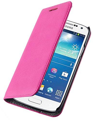 JammyLizarD Lederhülle für Samsung Galaxy S7 | Handyhülle [ Swiss Book Hülle Wallet ] Ledertasche Flip Cover Hülle Leder Schutzhülle, Knallrosa