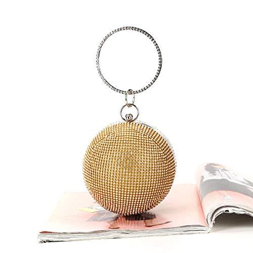 Furnace fire Diamant-Handtaschen-kugelförmige Rhinestones-Abendessen-Beutel-handgemachte Partei-Abend-Beutel-Gold