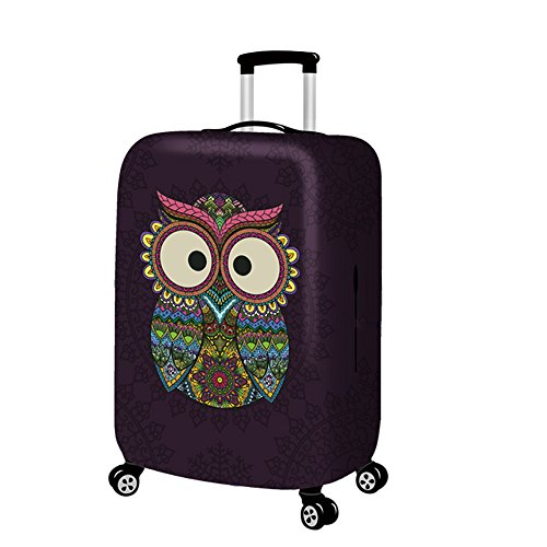 YAKEFJ Travel Luggage Cover Suitcase Protector Fits for 18-32 Inch Luggage (owl, XL)