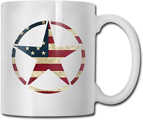 N\A Militär Jeep Star Vintage amerikanische Flagge Kakao Tassen Keramik Kakaotassen mit großem C-Handgriff Lustige Kaffeetasse Coole Kaffee Teetasse 11 Unzen Familie & Fre&