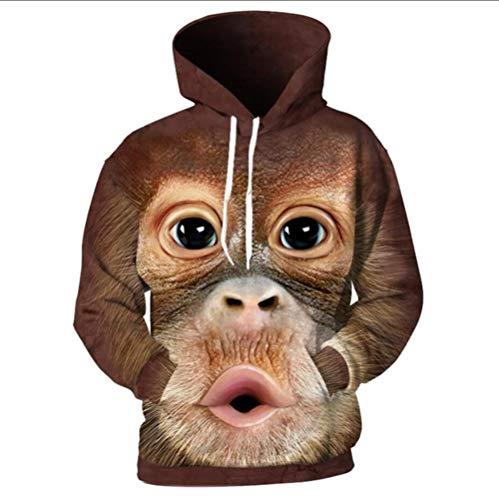 XIAOGUdeHDS 2018 3D Männer Hoodies Drucken Orang-Utan AFFE Sweatshirts Harajuku Lose Hoodie Männlich Pullover Tops Streetwear Mit Kapuze, XL