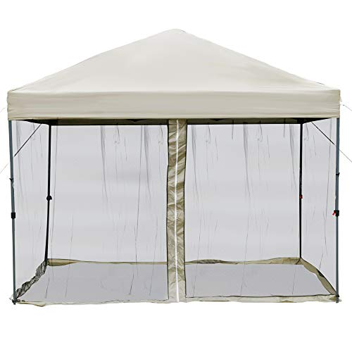 Outsunny 10' x 10' Pop Up Canopy Party Tent with Center Lift Hook Design, 3-Level Adjustable Height, Easy Move Roller Bag, Beige