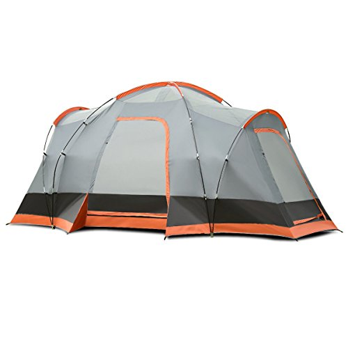 Heize best price Orange and Gray Portable 8 Person Family Tent Easy Set-up Rainproof W/Bag Hiking Waterproof Camping Tent Travel Outdoor Backpack Beach Tent Portable Lightweight (U.S. Stock)