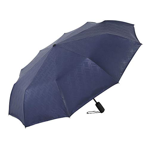 flqwe Paraguas Reforzado Resistente al Agua,Paraguas Triple de Protector Solar de Vinilo de 10 Huesos, Paraguas Completamente automático, Azul,Paraguas de Viaje Robusto