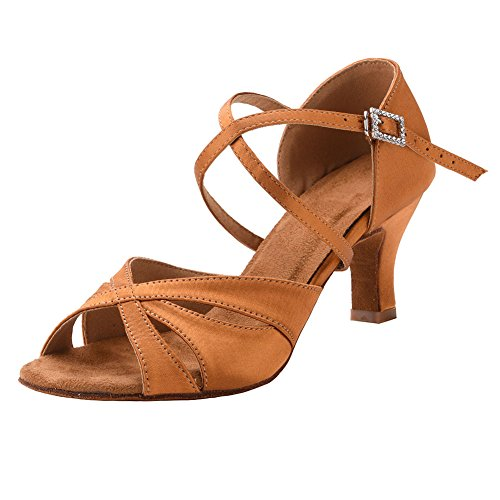 """Women's Latin Dance Shoes Female's Ballroom Salsa Dance Shoes with 2.5"""" Hell(A-Style Orange Size 8)"""