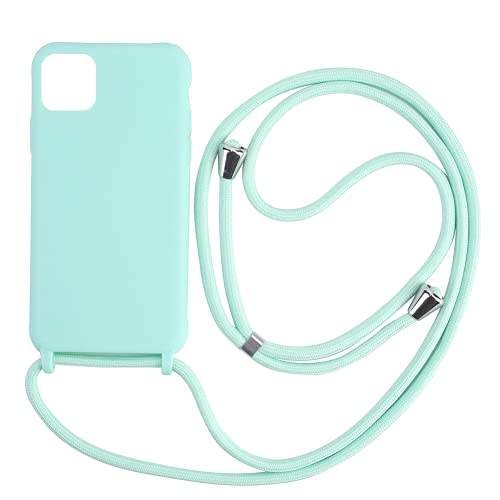 """Hykjt Cover Compatible con iPhone 12/12 Pro(6.1""""),Cordino Custodia Collana Necklace Cover Corda Case TPU Silicone Liquido Antiurto Cellulare Shell Bumper-Verde"""