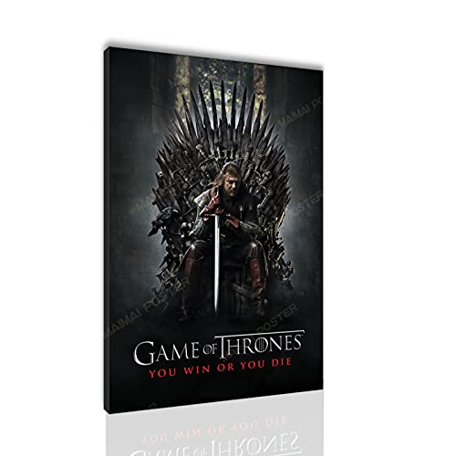 Game of Thrones Poster HD Print Wall Decoration Game of Thrones Canvas Print Painting Santa RONA (12x18 Wooden Framed,HL000385)