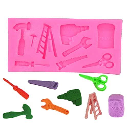 Eeauytr Juego de 2 herramientas de silicona para fondant, incluye 21 mini moldes de herramientas de construcción diferentes para decoración de tartas de boda, cumpleaños, fiestas, etc