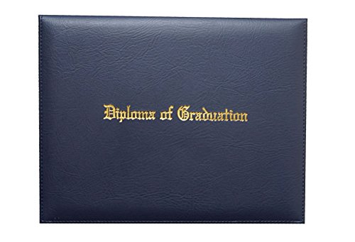 Certificate Cover Imprinted'Diploma of Graduation' Faux-Leather Diploma Holder 8.5' x 11' Grad Days(Navy)