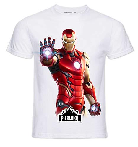 T-Shirt Personaggi Skin PRO' con Stampa Personalizzata. Scegli L'Immagine Che preferisci e personalizzala ►Gratis◄ con Il Nome Che Vuoi (5-6 Anni, Iron)