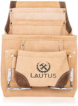 LAUTUS Leather Tool Pouch Bag Carpenter Construction Framers Handyman 2 Hammer Holders 8 Pockets product image