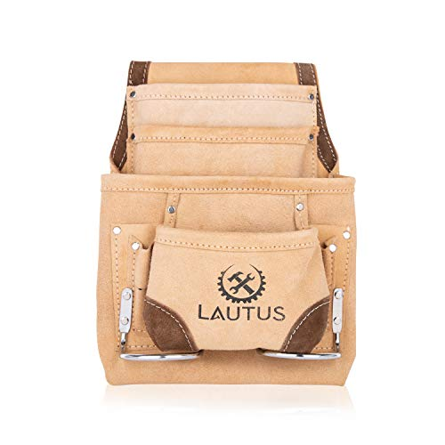 LAUTUS Leather Tool Pouch Bag  Carpenter, Construction, Framers, Handyman  2 Hammer Holders, 8 Pockets 