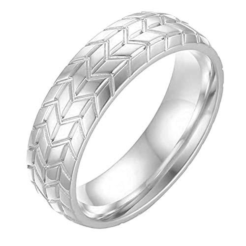 puran Fingerring für Frauen und Mädchen, Biker, Herren, 6 mm, Autoreifen-Profil, Edelstahlring, Fingerschmuck, Geschenk, Silber, US 12