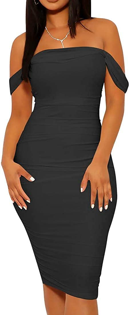 Women's Off Shoulder Shiny Sequins Long Dress Side Split Butt Lifter Bodycon Skinny Night Club Cocktail Party Midi Dress