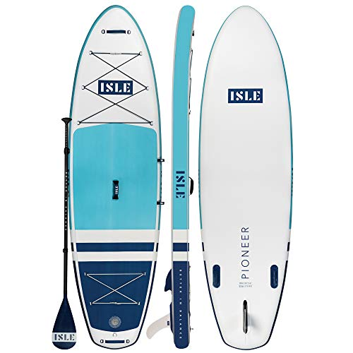 """ISLE Pioneer Inflatable Stand Up Paddleboard & iSUP Bundle Accessories & Backpack — Wide Stance, Durable, Lightweight — 285 lbs Capacity (Teal Blue, 10'6"""" x 34"""" x 6"""")"""