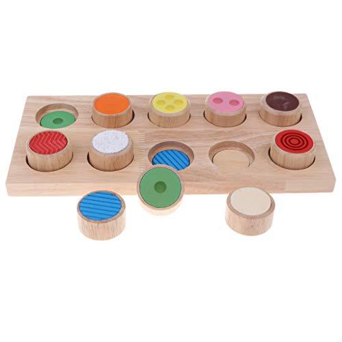 Juguete Montessori Infantil Tablero Sensorial de Tacto de Cinlindros Juego Educativo Temprano para Niños