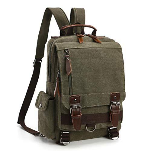 WPJ Neuer Unisex Rucksack, Schultertasche, Wasserfeste Canvas Umhängetasche, Mode Leinwand Outdoor Reise Kuriertasche (Color : Army Green, Größe : Backpack)