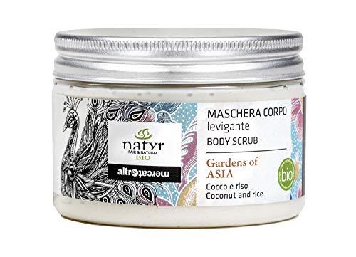 Natyr Bio Körperpeeling mit Reis- und Kokosöl 150 ml - glättend und feuchtigkeitsspendend mit exotischem Duft - Serie 'Gardens of Asia'