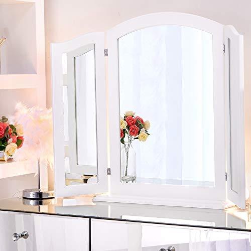Dreifach faltbarer Spiegel mit abnehmbarem Holzsockel, 84 cm x 62 cm, 3-Wege-Spiegel für Schminktisch, großer Make-up-Schminkspiegel, Tischplatte oder Wandmontage (weiß)