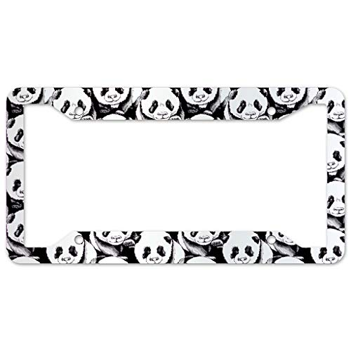 WOSITON Panda Animal License Plate Frame 4 Pieces Design License Plate Frame With 4Holes Fite For Bar white 16x31cm