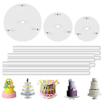 DOERDO 3 Tier Cake Separator Plates and 9 Pieces Plastic Cake Dowel Rods Set for Tiered Cake Construction and Stacking 12cm,16cm,18cm