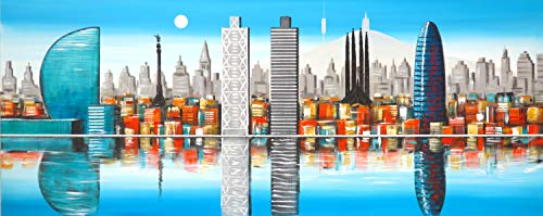 Cuadro Pintado Skyline de Barcelona Azul 150x60 cm, Torre Agbar, Colón, Tibidabo, Sagrada Familia.100% Original sobre Lienzo, Pintado a Mano